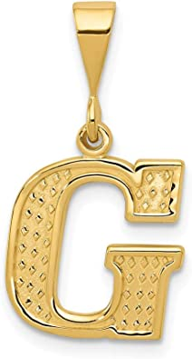 10k Yellow Gold Initial Monogram Name Letter G Pendant Charm Necklace Fine Jewelry Gifts For Women For Her