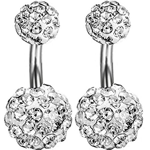 Kuyou 2 Pcs Super Short needle 6 mm Navel Rings Belly Button Crystal Ball Body Piercing (White)