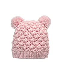 Beanie Double Pompom Hat Children Kids Baby Girls Autumn Winter Ski Knitted Hats