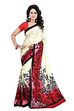 Sarees for women party wear Designer Today best offers buy online in Low Price Sale Pink & Beige Color Art Silk Fabric Free Size Ladies Sari Blouse