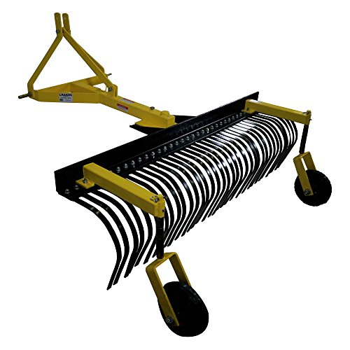 Titan Attachments 6' Landscape Rock Rake 3 Point Soil Gravel Lawn Tow Behind Tractor 6ft w/Wheels