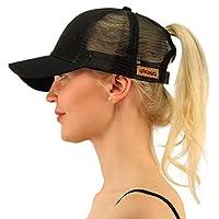 URUNIQ Ponytail Hats For Women Messy Trucker Hat Plain Ponytail Baseball Visor Cap Mother's Day Gift