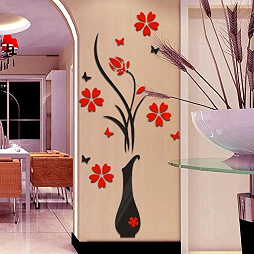 3D Vase TV Wall Background Murals, Qisc Originality Stickers Living Room Bedroom Sofa Backdrop DIY Wall Decal Wall Decor Wall Decorations (Black One)