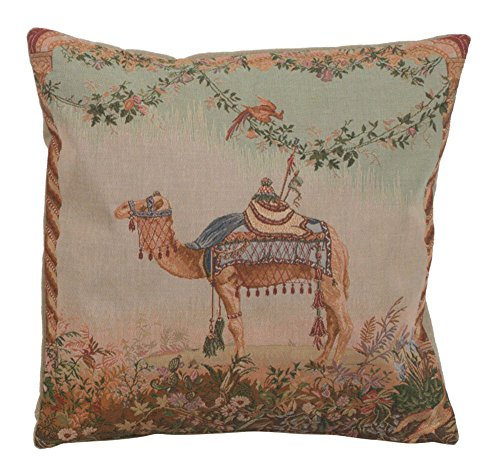 - Home Furnishings, Camel French Tapestry Throw Pillow Case, Hand Finished Cushion Cover, 19 by 19 Inch