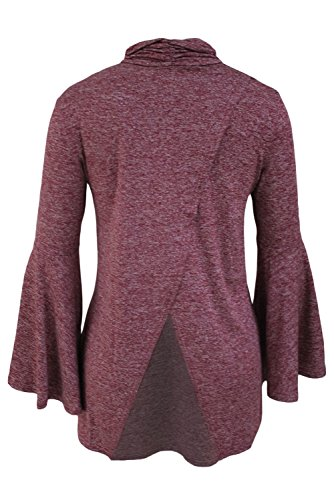 Neue Damen Wein Marl Bell Sleeve Wrap Rückseite Polo Neck Top Tunika Club Wear Sommer Casual Party Tops Größe UK 12