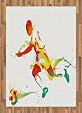 Teen Room Area Rug by Ambesonne, Young Man Playing Soccer Football Athlete Game Win Champion Paintbrush Artwork, Flat Woven Accent Rug for Living Room Bedroom Dining Room, 5.2 x 7.5 FT, Multicolor