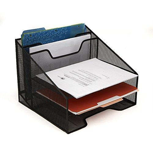 Mind Reader DORGANIZE-BLK Mesh Organizer 5 Desktop Document Letter Tray for Folders, Mail, Stationary, Desk Accessories, Black, - Desktop Letter Folder