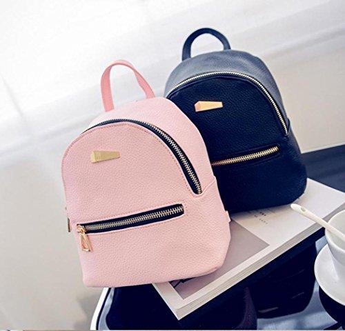 Hemlock PU Leather Backpack Bags, Girls Travel Handbag School Rucksack Bag (Pink)