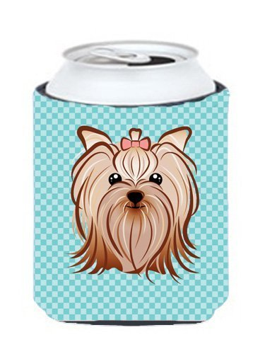 Caroline's Treasures BB1142CC Checkerboard Blue Yorkie Yorkishire Terrier Can or Bottle Hugger, Multicolor by Caroline's Treasures Multicolor by Caroline's Treasures