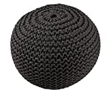 BrandWave Cotton Cover Round Pouf Ottomon/Seat - Elegantly Woven Hand Knit 100 Percent Cotton Cover - Soft Yet Sturdy Design - Black - 18x18x18 (round)