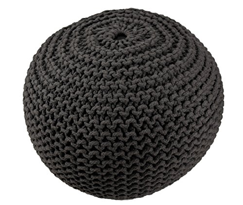 BrandWave Cotton Cover Round Pouf Ottomon/Seat - Elegantly Woven Hand Knit 100 Percent Cotton Cover - Soft Yet Sturdy Design - Black - 18x18x18 ()