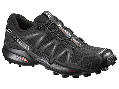 Salomon Women's Speedcross 4 Trail Running Shoes & Spare Quicklace Bundle B01I41UKA6 10.5 B(M) US|Black / Black / Black Metallic