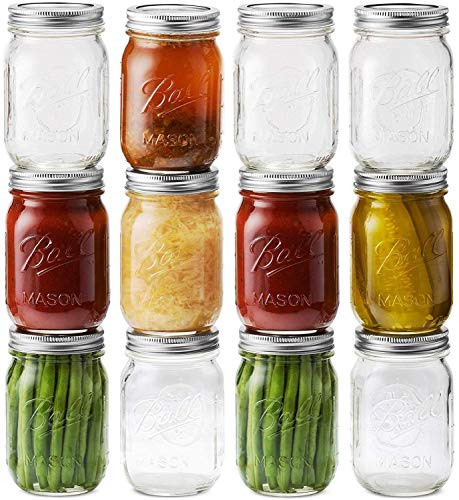 Ball Mason Jars 16 oz/Pint - 12 Regular Mouth Jars with Airtight lids & Bands - For Canning, Fermenting, Pickling - Beverages & Jar Decor. Microwave & Dishwasher Safe, Toxin Free.+ SEWANTA Jar Opener