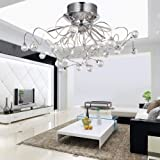 ALFRED with Crystal Chandelier with 11 lights Chrome Modern, Modern Chandeliers Flush Mount Ceiling Light Fixture for Hall, entrance, bedroom, living room with a bulb include