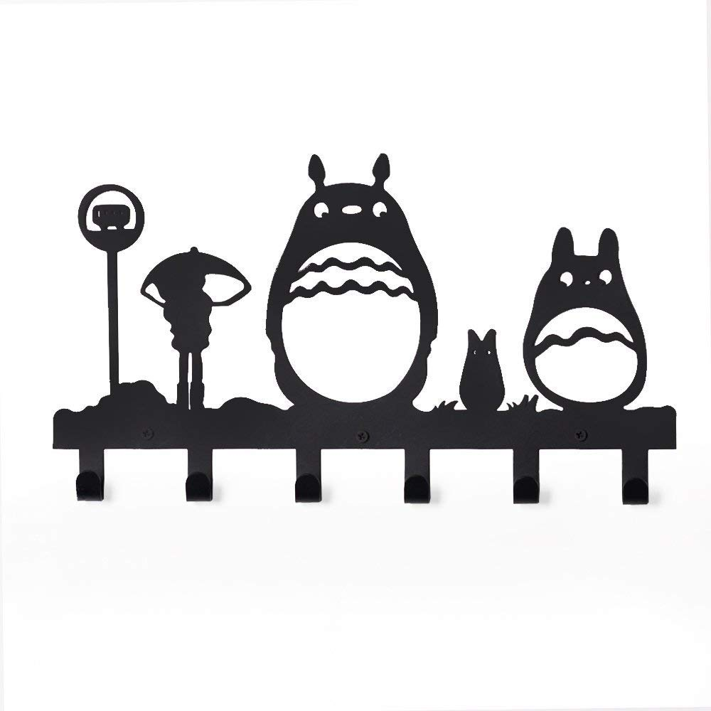 CoolPlus Coat Hooks Wall Mounted Entryway Dog Leash and Key Holder Belt and Hat Organizer Totoro Pattern Sweet Black