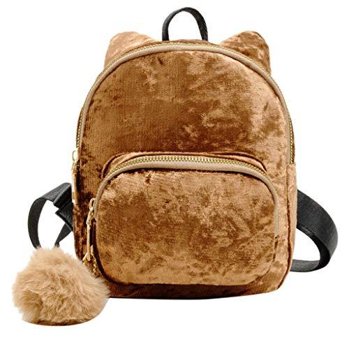 KCPer Women Girls Fashion Mini Backpack Shoulder Bag Solid School Bags With Fur Ball Velvet Shoulder Bag Students Messenger Bag