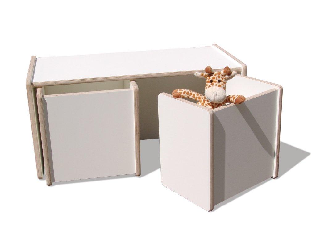 1 Kinder Wendetisch & 2 Wendehocker Set - weiß - Premium