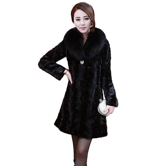 new concept 6c165 5b58a Fur Story 16149 Lungo Reale Visone Cappotto di Pelliccia ...