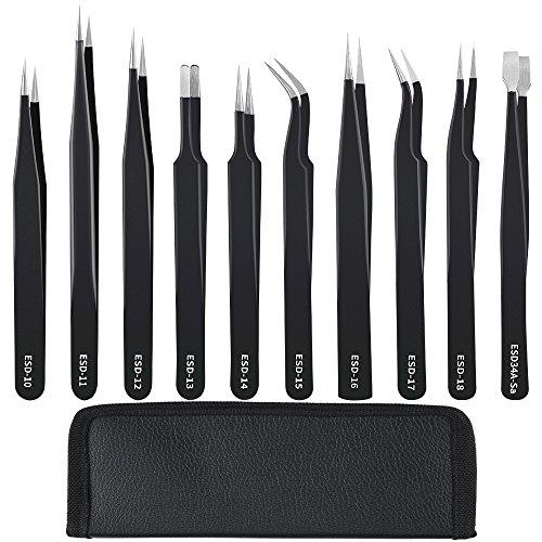 - 10 PCS ESD Lab Tweezers, Anti-Static Precision Tweezers Non-magnetic Tweezer Set for Craft, Jewelry, Electronics, Laboratory Work