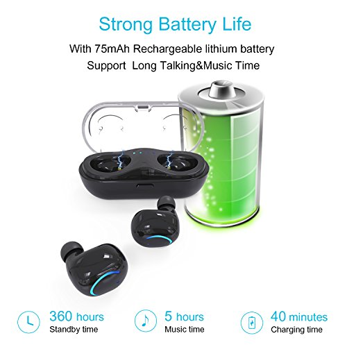 Greatlizard Wireless Bluetooth Earbuds Mini Car Sports Headphones 6 Hours Talking Time Stereo
