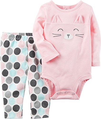 Carter's Baby Girls' 2 Piece Cat Face Bodysuit and Pants Set 6 Months, (Kitty Cat Pant)