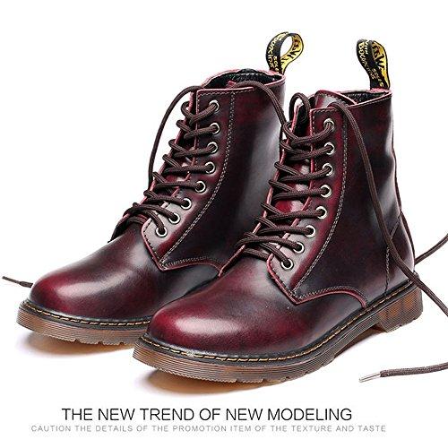 Best Choise Zapatos de hombre Classic Leather Lace UP Oxfords High Top Boots para Caballeros Al aire libre ( Color : Red , Size : 38 EU ) Red