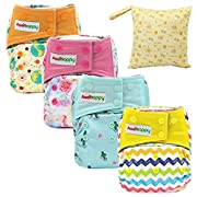 Asenappy All In One Cloth Diaper Reusable AIO Sewn Inserts with Pocket Overnight (Girl01)