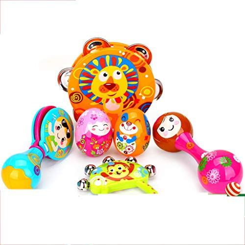 LIPENG-TOY Children's Educational Tambourine Infant Hand Drums Percussion Instrument 3-6-12 Months Set (Color : Multi-Colored) by LIPENG-TOY (Image #7)