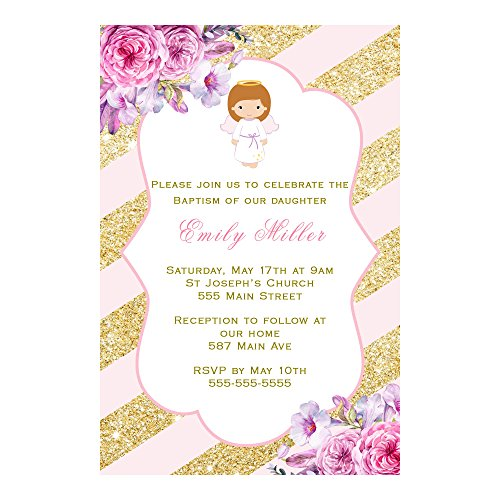 30 Invitations Personalized Girl Baptism Christening Pink Gold Angel Photo Paper