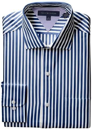 Tommy Hilfiger Men's Long Sleeve Reg Stripe Spread, Navy, 15 32-33
