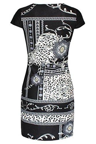Bigood Robe de Soirée Femme Fille Mini-Robe Imprimé Col Rond Elégant Cérémonie