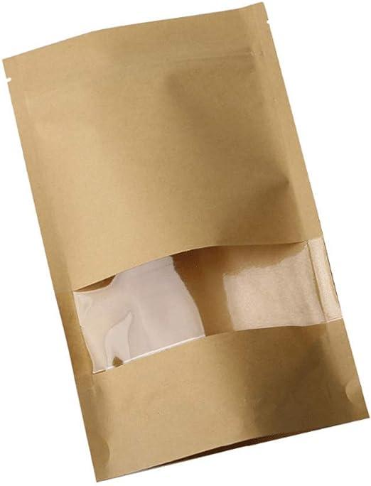 jud/ías hojas de t/é y aperitivos 10 * 15+3 bolsas de almacenamiento de alimentos 50 bolsas de papel kraft impermeables con ventana transparente para alimentos 28 Wire bolsa de embalaje para caf/é