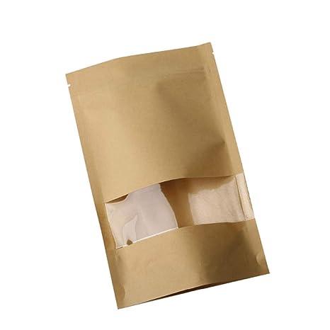50 bolsas de papel kraft impermeables con ventana ...