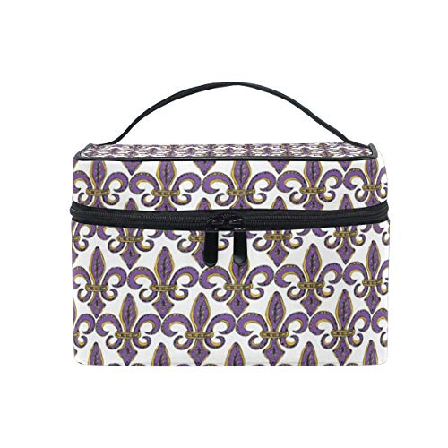 - Travel Cosmetic Bag Fleur-De-Lis Flower Iris Toiletry Makeup Bag Pouch Tote Case Organizer Storage For Women Girls