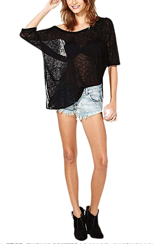 Dama T Shirt Negro Casual Blusas Irregular Verano Moda Loose ...