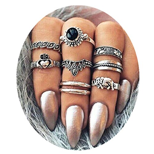 - ANGELANGELA Vintage Assorted Stacking Rings, Antique Silver Joint Above Knuckle Nail Midi Band Statement Stackable Cuff Toe Finger Ring Set (8Pc/Set crown)