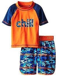 iXtreme Little Boys Chill Camo Short Sleeve 2-Piece Rashguard Swim Trunk Set, Navy, 3T