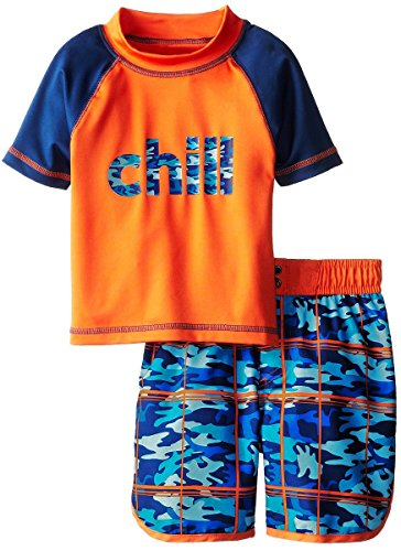 iXtreme Little Boys Chill Camo Surf, Crab Prints Rashguard Swim Short Trunk Set