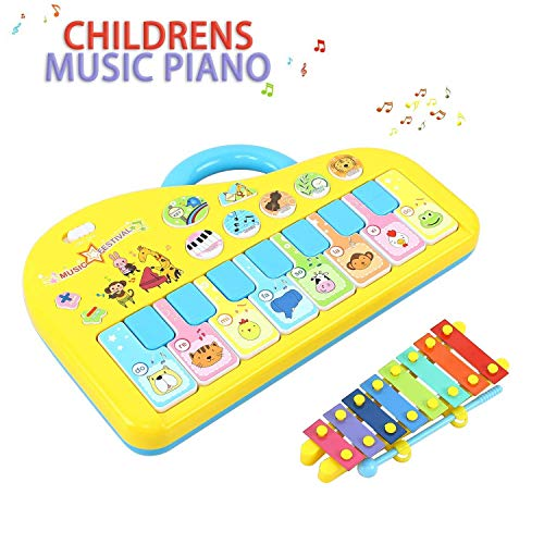 AresKo Baby Musical Toys, Piano Music Keyboard Toys for Infants, Toddler Piano Toys with Hand Knock Xylophone-Perfect Christmas Birthday Gift for Kids