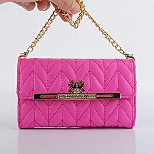 Focuson(TM) Fashion Wristlet Diamond PU Leather Full Body Protector Chains Hangbag Pouch for iPhone 5/5S-Hot Pink