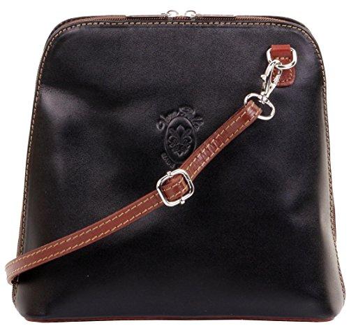 Primo Bags Petit sac à bandoulière ou à bandoulière en cuir lisse italien.   Comprend un sac de rangement noir et marron de marque