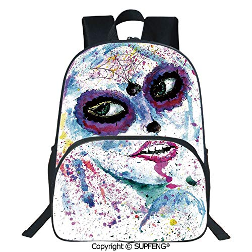 SCOXIXI Laptop Backpack Grunge Halloween Lady with Sugar Skull Make Up Creepy Dead Face Gothic Woman Artsy (15.75
