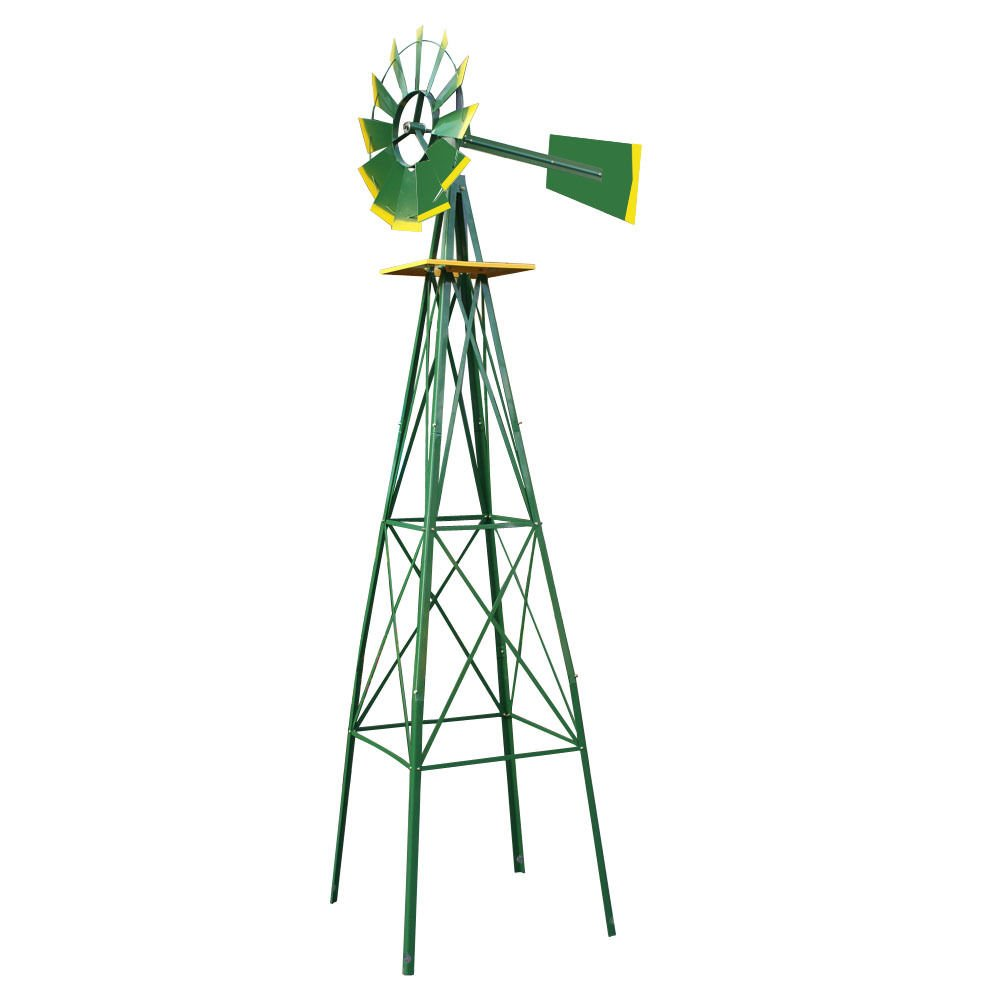 Alitop 8Ft Tall Windmill Ornamental Wind Wheel Green and Yellow Garden Weather Vane