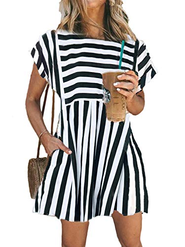 Naggoo Striped Dresses for Women,Cotton Pockets Summer Flowy Pleated Swing Fit and Flare Dresses,Black,M