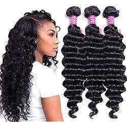 VRVOGUE Brazilian Deep Wave 3 Bundles 100% Human Hair 7A Unprocessed Natural Color Brazilian Virgin Hair Extensions (16 16 16)