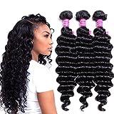 VRVOGUE Brazilian Deep Wave 4 Bundles 100% Human Hair 7A Unprocessed Natural Color Brazilian Virgin Hair Extensions (18 20 22 24)