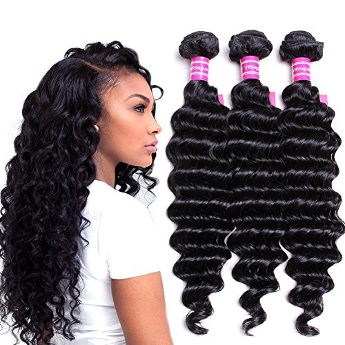 VRVOGUE Brazilian Deep Wave 3 Bundles 100% Human Hair 7A Unprocessed Natural Color Brazilian Virgin Weave Hair Extensions (8 10 12)