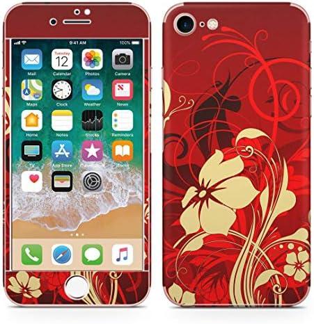 igsticker iPhone SE 2020 iPhone8 iPhone7 専用 スキンシール 全面スキンシール フル 背面 側面 正面 液晶 ステッカー 保護シール 007606 フラワー 花 フラワー 赤 レッド