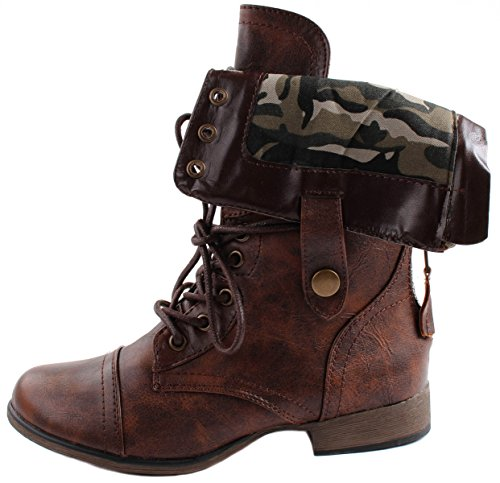 Forever Womens Legend-9 Folding Shaft Ankle Boots With Full Back Zipper and Camouflage Design Inside Brown zklZzA8oYs