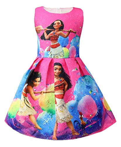 WNQY Moana Little Girls Printed Princess Dress Cartoon Party Dress (Rose,130/6-7Y) by WNQY